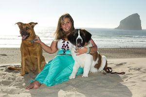 kali and dogs on beach